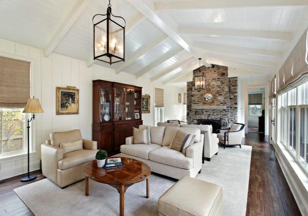 wohnzimmer ideen designs gewölbedecke holzdielen