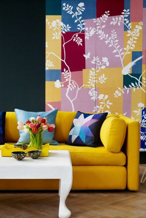 wohnzimmer ideen für einrichtung farbig gelbes ledersofa wandgestaltung