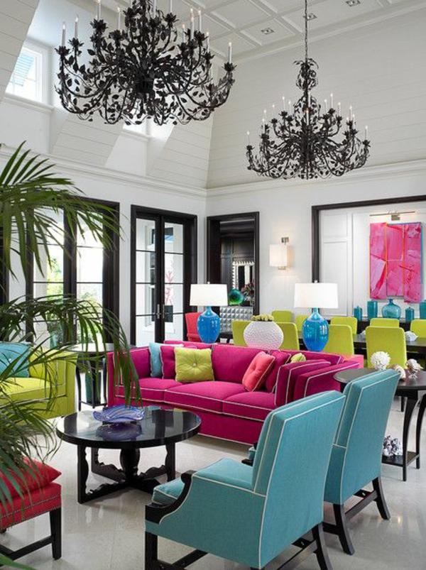 wohnzimmer ideen für einrichtung farbig kronleuchter sofa sessel