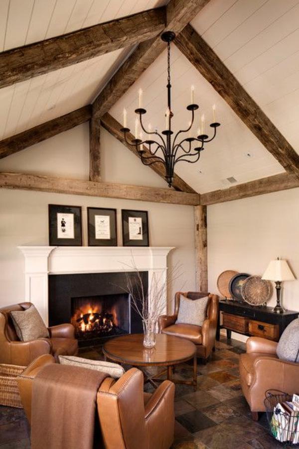 wohnzimmer ideen für einrichtung rustikal decke holzbalken kamin ...