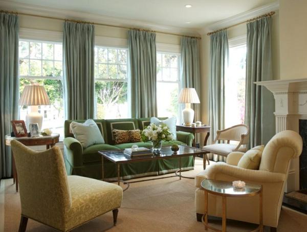 wohnzimmer ideen gardinen vorhänge elegant