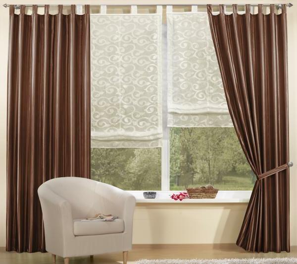 wohnzimmer ideen gardinen vorhänge kontrast