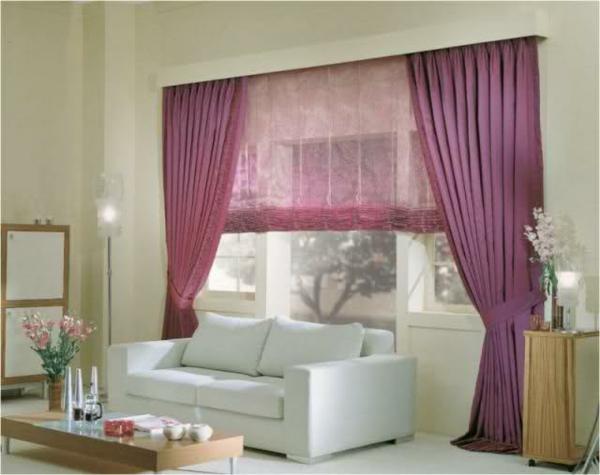 wohnzimmer ideen gardinen vorhänge lila farben