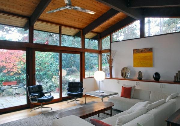 wohnzimmer ideen und designs gewölbte zimmerdecke holzdielen bodenbelag