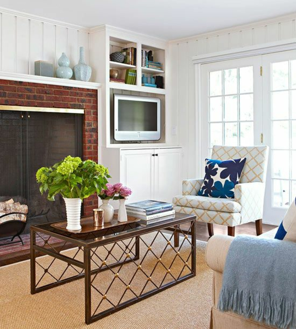wohnzimmer interior kamin sessel sofa couchtisch design