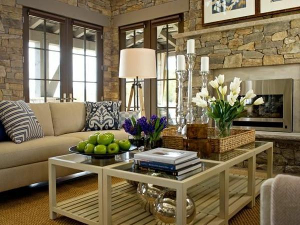wohnzimmer interior rustikal sofa couchtisch