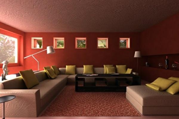 wohnzimmer sofa wandfarbe kastanienbraun ecksofa in beige dekokissen hellgrün