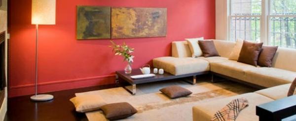Wohnzimmer Wandfarbe Kastanienbraun Beige Braun Raumgestaltung