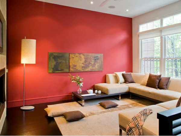 wohnzimmer rot braun:Die Farbe an der Wand bedeutet zwar nicht automatisch gutes Glück