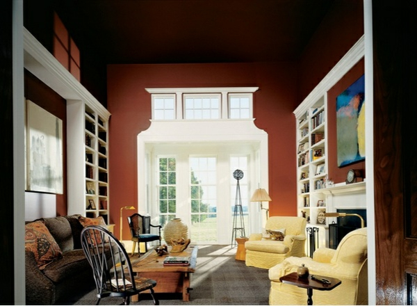 Wohnzimmer Wandfarbe Kastanienbraun Wandgestaltung Ideen