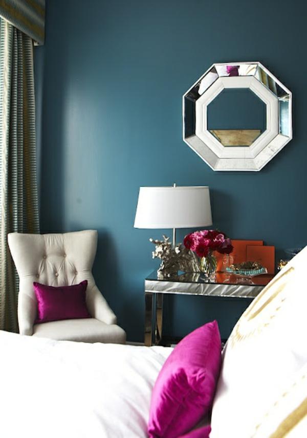 wohnzimmer wand farbe lagune sofa sessel tisch