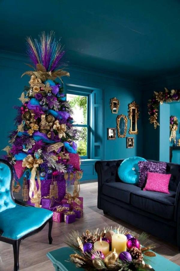 wohnzimmer wandfarbe lagune wandgestaltung gold akzente möbel