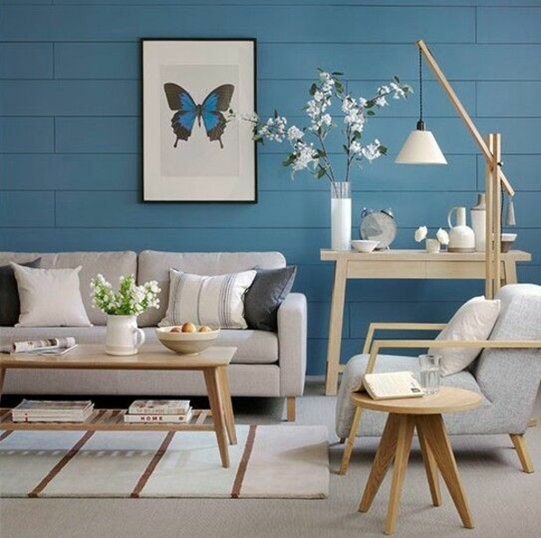 wohnzimmer wandfarbe lagune wandgestaltung helle möbel wandart