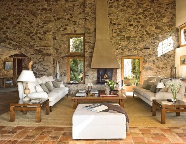 natursteinwand ideen wohnzimmer wandgestaltung couchtisch