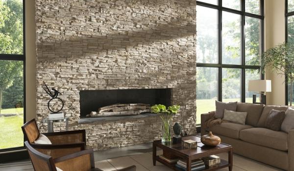 Natursteinwand im Wohnzimmer natursteinwand ideen fenster groß