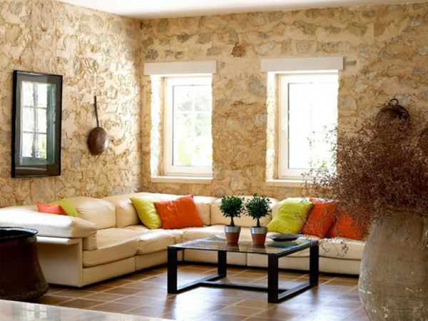 natursteinwand im wohnzimmer natursteinwand ideen fenster - Gestaltungsideen Wohnzimmer