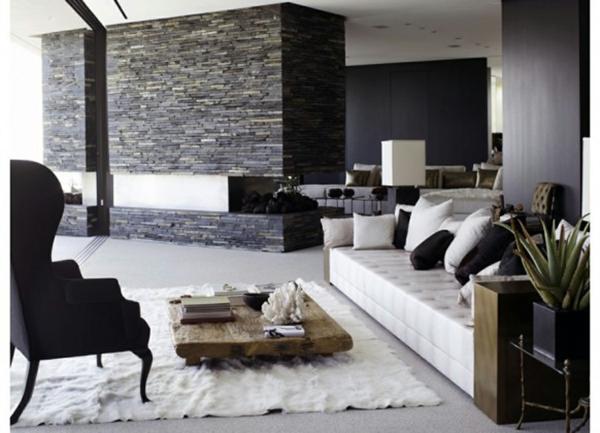 natursteinwand im wohnzimmer natursteinwand ideen graue farben - Natursteinwand Badezimmer