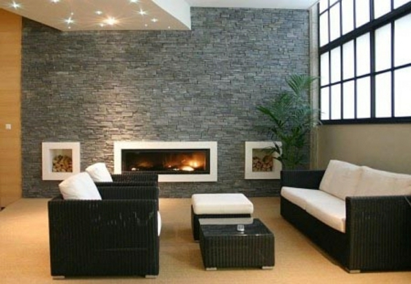 wohnzimmer wandgestaltung natursteinwand ideen kamin