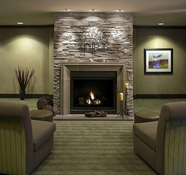 Natursteinwand im Wohnzimmer natursteinwand ideen lampen