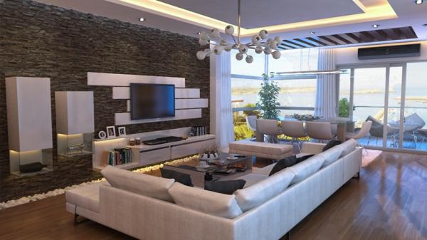 natursteinwand im wohnzimmer - die natur zu hause empfangen - Wohnzimmer Ideen Wandgestaltung Stein