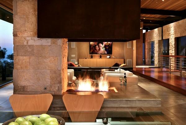 wohnzimmer wandgestaltung natursteinwand ideen möbel