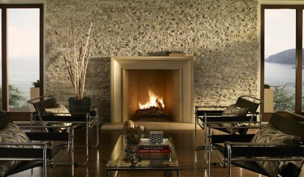 wohnzimmer Natursteinwand im Wohnzimmer natursteinwand ideen warm