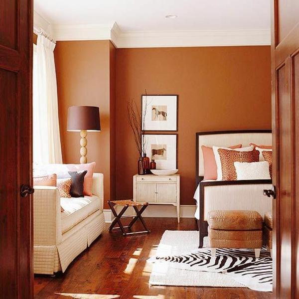wohzimmer designideen wandfarbe in brauntöne schokoladenbraun