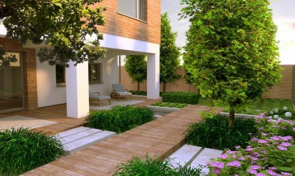 zeitgenössischer garten patio bäume blumen holzboden