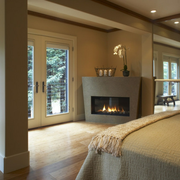 zeitgenössisches schlafzimmer feuerstelle dekoration
