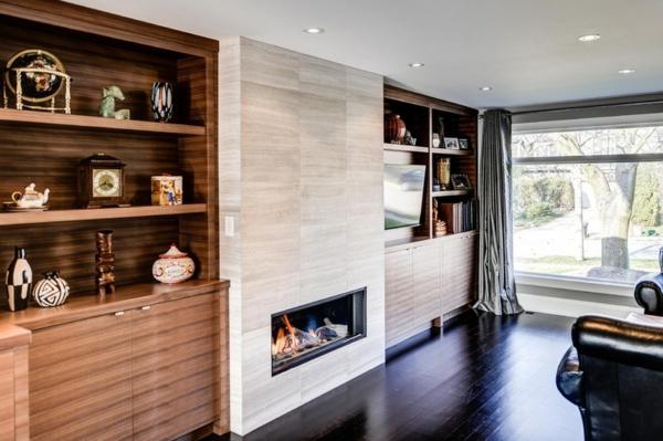 zeitgenössisches wohnzimmer feuerstelle dekoideen