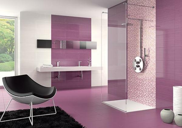 farbgestaltung wänd badezimmer Altrosa als Wandfarbe fliesen