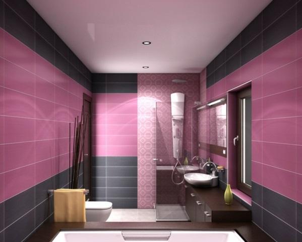 wohnzimmer altrosa:Altrosa als Wandfarbe farbgestaltung wände fliesen schwarz