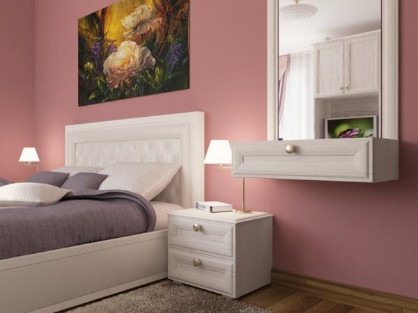 Altrosa Wandfarbe Farbgestaltung Wände Kopfteil Weiß
