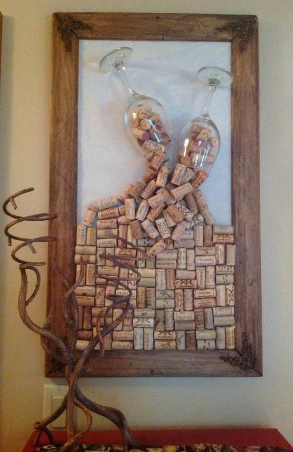 kunst werk bilderrahmen wein glas Basteln mit Korken