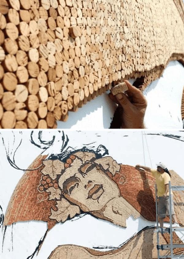 Basteln wand gestaltung Korken gesichter art kunst
