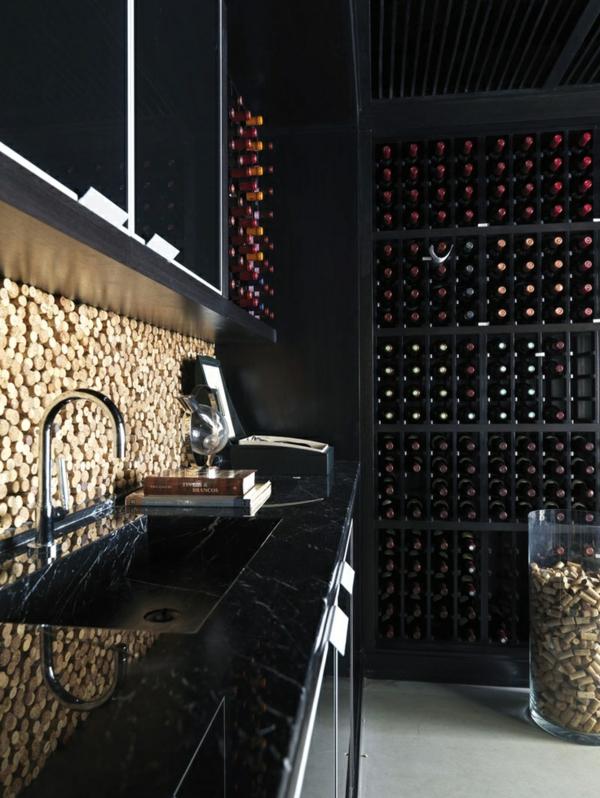 Basteln mit Korken küche küchenrückwand