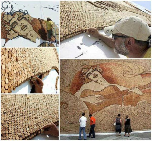 Basteln kunst werk wand Korken lifestyle art