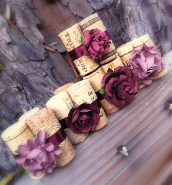 Basteln romantisch Korken lila blumen deko
