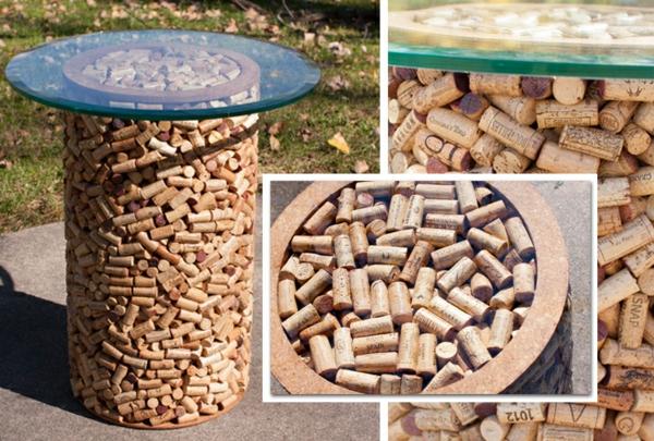 Basteln rund tisch bar glas Korken materialien