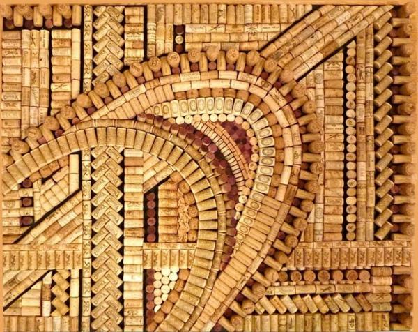 Basteln robust natur Korken mosaik eiche