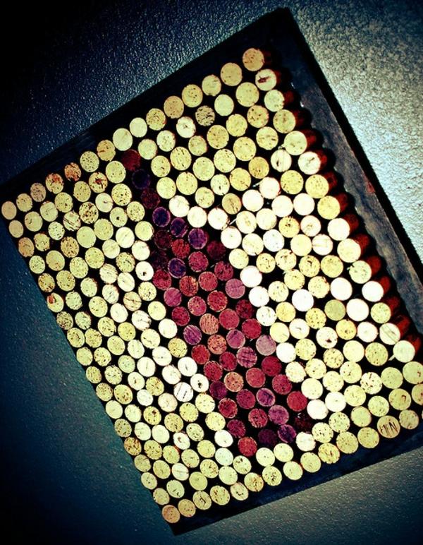 Basteln installation kunst Korken weinflasche rot