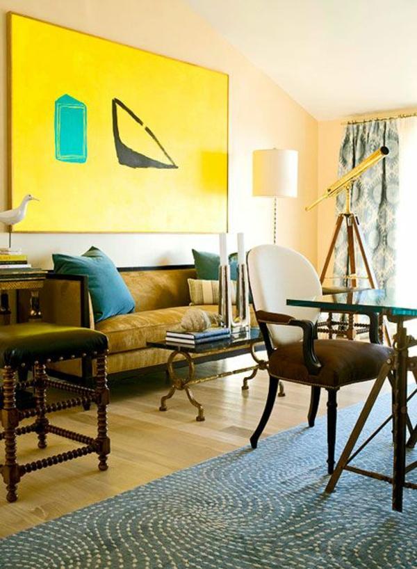 Beleuchtungsideen fürs Wohnzimmer cool wohnzimmerlampen gelb wand