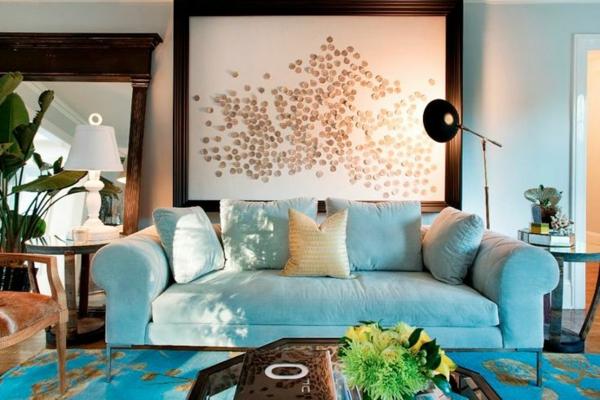 Hellblau Gepolstertes Kleinsofa Beleuchtungsideen Frs Wohnzimmer Cool Wohnzimmerlampen Sofa