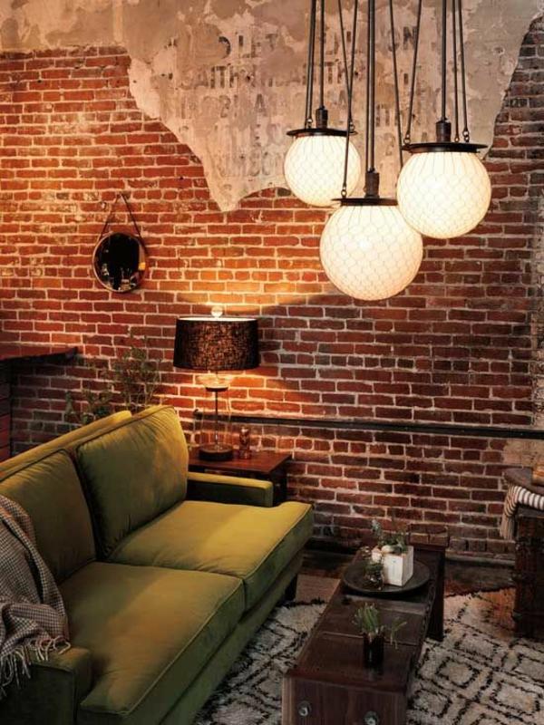 Beleuchtungsideen-fürs-Wohnzimmer-cool-wohnzimmerlampen-ziegel
