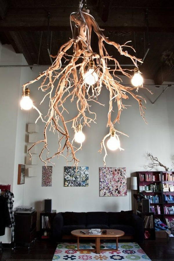 Beleuchtungsideen fürs Wohnzimmer cool wohnzimmerlampen zweige glühbirnen