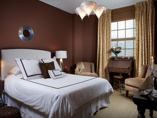 Brauntöne weiß bettwäsche Wandfarben schlafzimmer bett