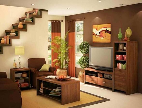 Brown interior design treppenhaus bücher gardinen