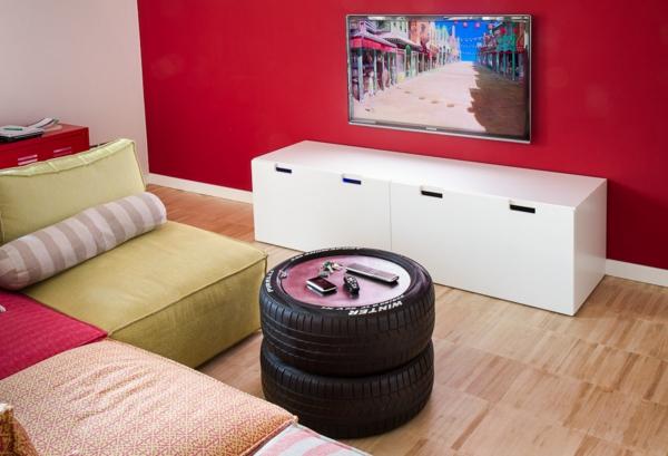 DIY Möbel Autoreife couchtisch wohnzimmer