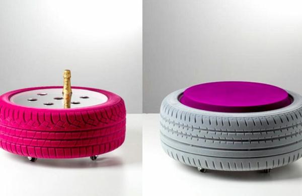 DIY Möbel aus Autoreifen autoreifen recycling feminine farben