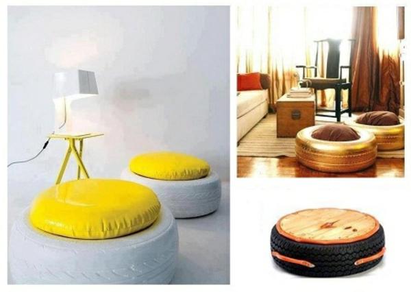DIY Möbel aus Autoreifen autoreifen recycling gelb leder sitzplatz